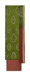 Bandhej Mart Women's Cotton Salwar Suit Material (Mehndi Green and Brown)
