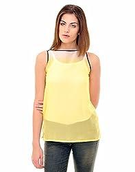 Indiwagon Yellow Color Chiffon Printed Top