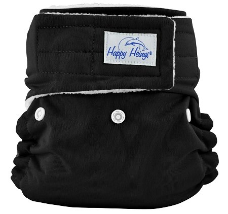 Happy Heinys ONEderful All-in-One Cotton Cloth Diapers (Hook & Loop, Black) - 1