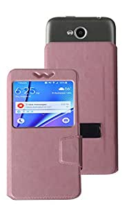 Corcepts Light Pink Universal Mercury type slider to take picture easy and with Stand Flip Cover PU Leather for Oplus Xonphone
