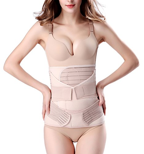 3 in 1 Postpartum Support - Recovery Belly/waist/pelvis Belt Shapewear Slimming Girdle, Beige, One Size (Postpartum Recovery Belt compare prices)