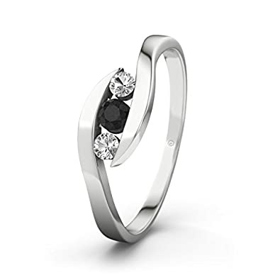 21DIAMONDS Women's Ring Alberta Black Round Brilliant Cut Diamond Engagement Ring - Silver Engagement Ring