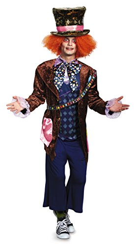 Disguise Men's Plus Size Alice Mad Hatter Deluxe Costume, Multi, XX-Large