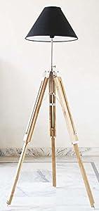 Vintage Wooden Lamp Stand Shade Floor Tripod Adjustable Teak Tripod Lamp Silver from NAUTICALMART INC
