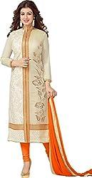 Stylefabs Diwali Special Offer Designer Jolly Cream & Orange SemiStitched Long Partywear Wedding Straight Salwar Suit