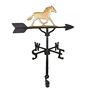 Montague Metal Products 32-Inch Weathervane with Gold Horse Ornament