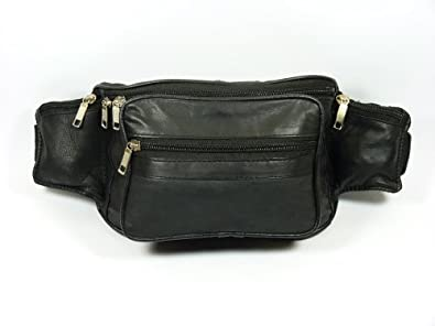Leather Waist bag Bum Bag Travel pouch pack 5 zips