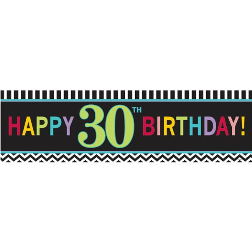 "Amscan 30th Celebration Theme Eye-Catching Giant Banner, Black/White/Red/Cyan Blue/Green, 65""x20"""