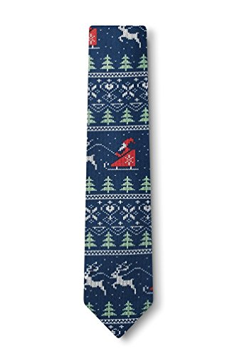 Ugly Christmas Sweater Navy Blue Microfiber Skinny Tie (Ugly Ties For Men compare prices)
