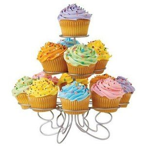 Light-weight Tiered Metal Dessert and Cupcake Stand (13-Cup 3-Tier)