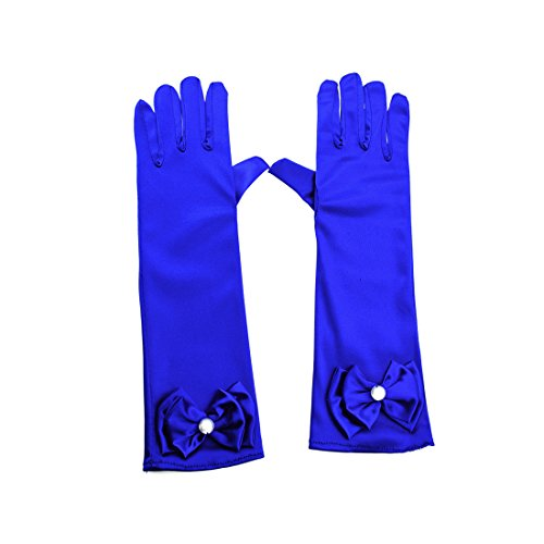 Greenmoe Girls Long Satin Finger Bowknot Formal Pageant Kids Gloves Royal Blue