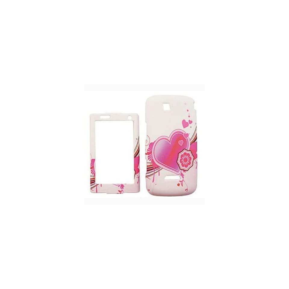SAMSUNG SIDEKICK 4G (TMOBILE) Pink Heart on White Hard Case, Snap On Cover, Protector Case, Thin. by DealsEgg