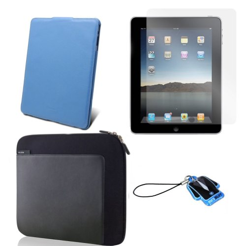 (Blue Stone) Apple iPad skin silicone case / leather case for iPad 3G cover neoprene sleeve case accessory bundle + screen protector + MiniSuit LCD Cleaner