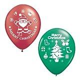 【クリスマスバルーン】チャーミィパック 28cmサンタ&ツリー ルビーレッド&エメラルドグリーン・4個入り(5パック)  / お楽しみグッズ(紙風船)付きセット