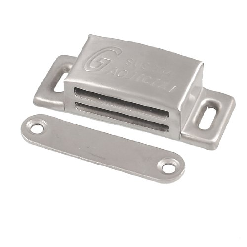 """2.56"""" Long Rectangle Shape Silver Tone Metal Cupboard Magnetic Catch front-1022131"""