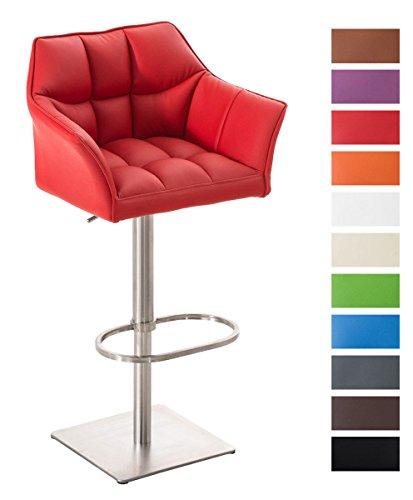 CLP-Edelstahl-Barhocker-DAMASO-mit-Lehne-Armelhnen-hhenverstellbar-58-83-cm-Sitz-drehbar-rot