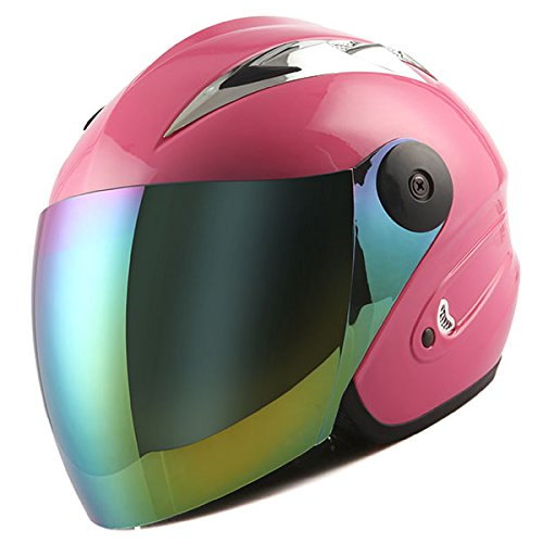Motorcycle Street Bike Scooter Open Face 3/4 Adult Helmet Pink (Pink Open Face Motorcycle Helmet compare prices)