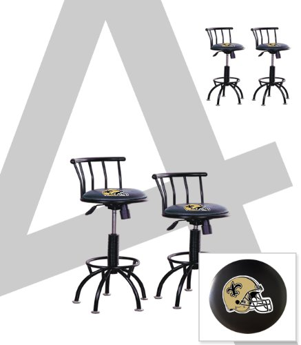 "4 New Orleans Saints Themed Adjustable Height 24""-29"" Black Metal Finish Swivel Seat Bar Stools! at Amazon.com"