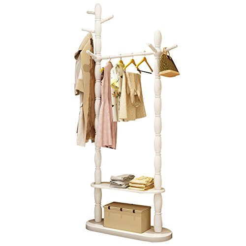 Floor home hanger bedroom solid wood racks minimalist modern living room clothing racks 4