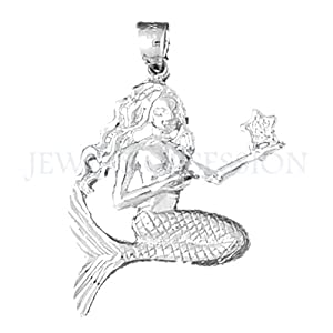white gold mermaid pendant