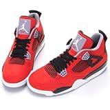 "Nike Mens Air Jordan 4 Retro ""Toro"" Fire Red/Black Leather Basketball Shoes Size 10"