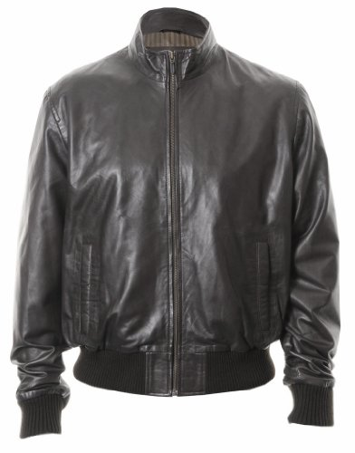Mens Classic Leather Bomber Jacket : Black : SR1575 Medium