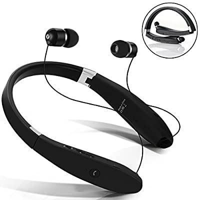 Bluetooth Headphones, Wireless Bluetooth Stereo Headset Neckband Foldable Sweatproof Design with Retractable Earbuds, Built in Mic with Noise Cancelling for iPhone 6s Samsung S6 and Android