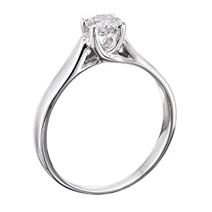 IGI Certified 14k white-gold Round Cut Diamond Engagement Ring (0.40 cttw, E Color, VS1 Clarity)