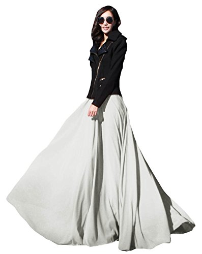 Womens-Summer-Chiffon-Mopping-Floor-Length-Big-Hem-Solid-Beach-Maxi-Skirt
