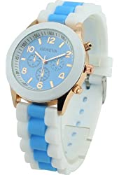 Women's Geneva Silicone Band Jelly Gel Quartz Wrist Watch Light Bule