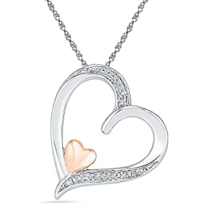 Two Tone Sterling Silver with Pink Gold Plated Diamond Heart Pendant (0.02 CTTW) , 18