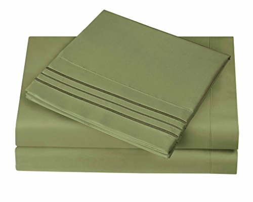 1800 Series Egyptian Collection 3 Line Microfiber 4 Piece Bed Sheet Set (Queen, Sage)
