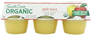 Santa Cruz Organic Apple Sauce, 6 Count, 4-Ounce Cups (Pack of 4)