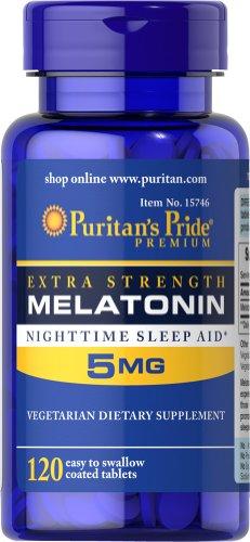 Puritan's Pride Extra Strength Melatonin, 5 mg/120 Easy to S