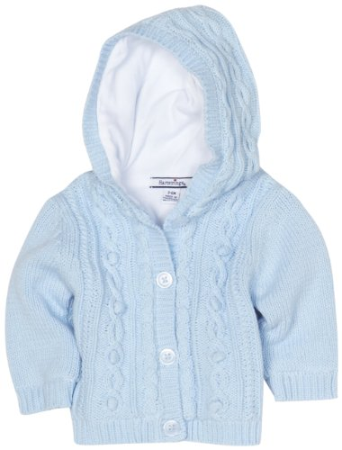 Hartstrings Baby-Boys Newborn Hooded Lined Long Sleeve Cardigan Sweater, Light Blue, 6-9 Months