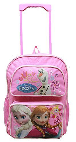 "Frozen Pink 16"" Large Rolling BackpackPlus Frozen Kids Fleece Throw Blankets 46"" x 60"" Plus Frozen 2 Mini Coin Purse Bag Elsa and Anna + Wipe"
