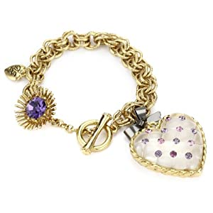 "Betsey Johnson ""Tzarina Princess"" Quilted Heart Charm Toggle Bracelet"