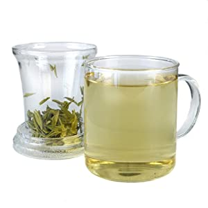 Teas Etc 12-Ounce Glass Brew Mug with Glass Brew Basket and Lid