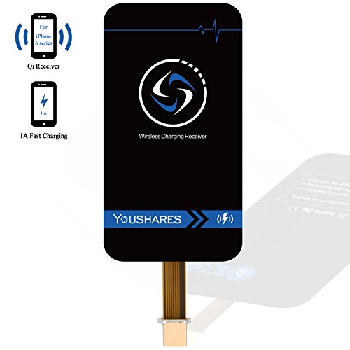 YOUSHARES iPhone Qi Wireless Charging Receiver, 1A Lighting Port Module, make Apple iPhone 7 7 Plus, 6s 6s Plus 6 6 Plus Universal to GMC Chevy Jeep In-Car Wireless Charger, IKEA, Starbucks, McDonalds (Hot Plate Cell Phone compare prices)