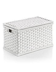 White Rattan Blanket Box