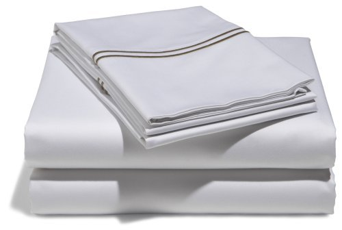 Pinzon Hotel Stitch 400-Thread-Count 100-Percent Egyptian Cotton Sateen Sheet Set, Queen, White With Taupe Stripes