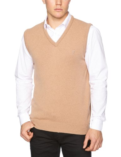 Pringle Classic V-Neck Vest Men's Tank Top Camel Medium