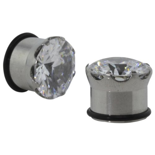 Pair 00 Gauge (10mm) - Prong-Set Large CZ Single Flared Ear Plugs with O-Ring - Body Jewelry