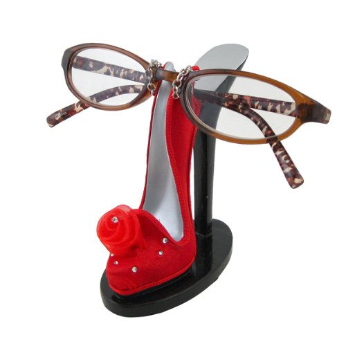 Chiffon Rose Open Back Heel Eyeglass Holder Red Picture