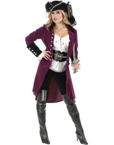 Womens Pirate Vixen Plumberry And Black Velvet Long Jacket Coat