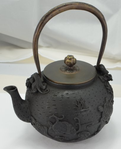 Cast Iron Tea Pot (Teapot) / Tea Kettle (Teakettle) - Turtle & Crane Ii, Black