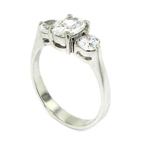 Sterling Silver Classic Engagement Ring w/Oval Brilliant White CZ Size 6