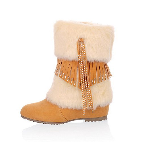 Voguezone009 Ladys Round Closed Toe Kitten Heel Frosted Short Plush Solid Boots With Tassels, Yellow, 43