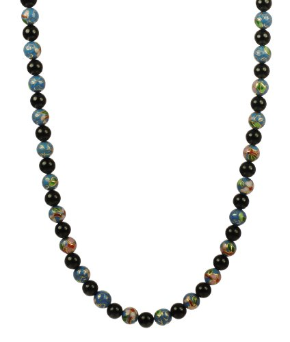 8mm Light Blue Cloisonne and Black Onyx Endless Necklace, 30