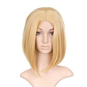 Sunny Blond Shoulder Length Anime Cosplay Costume Wig with Center Part